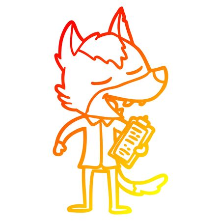 warm gradient line drawing of a cartoon saleman wolf laughing 일러스트