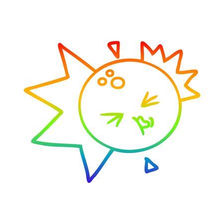 rainbow gradient line drawing of a cartoon bowling ball striking Reklamní fotografie - 129873883
