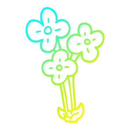 cold gradient line drawing of a cartoon bunch of flowers