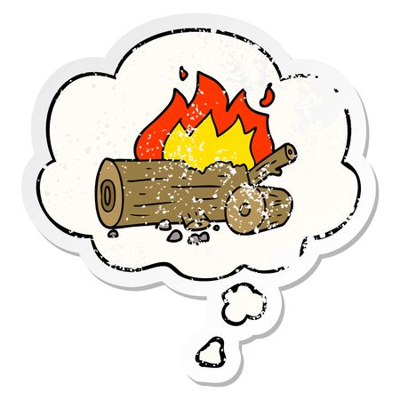 cartoon camp fire with thought bubble as a distressed worn sticker Illustration