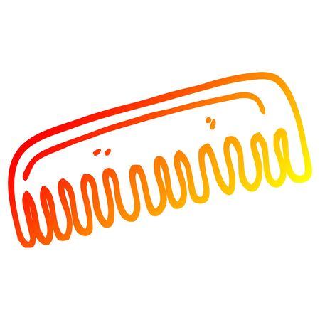 warm gradient line drawing of a cartoon hair comb