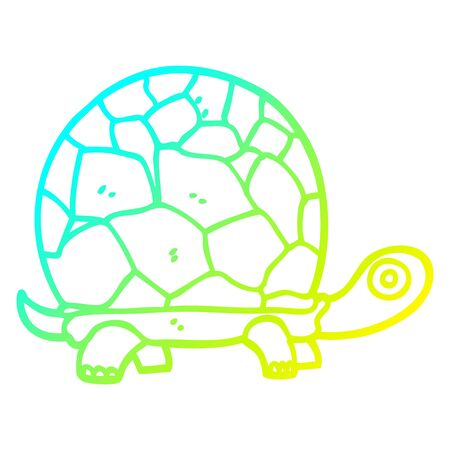 cold gradient line drawing of a cartoon tortoise