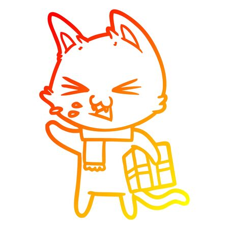 warm gradient line drawing of a cartoon hissing cat with christmas present Illustration