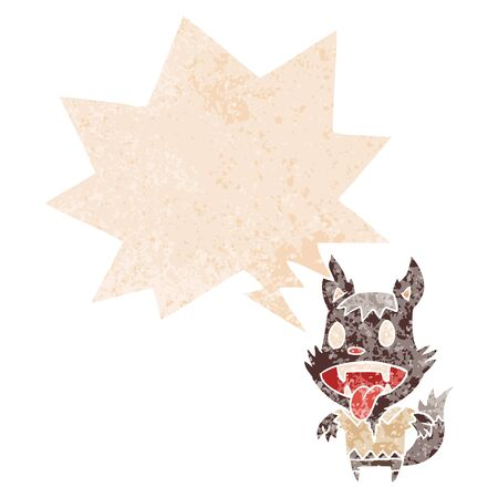 cartoon werewolf with speech bubble in grunge distressed retro textured style 向量圖像