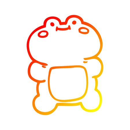 warm gradient line drawing of a funny cartoon frog