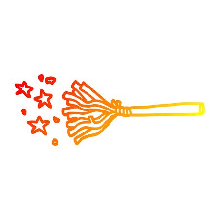 warm gradient line drawing of a cartoon magic broom