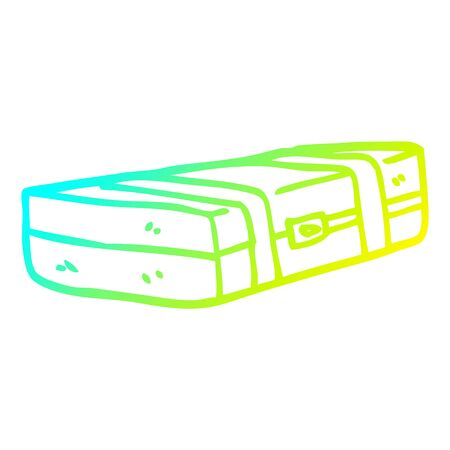 cold gradient line drawing of a cartoon suit case