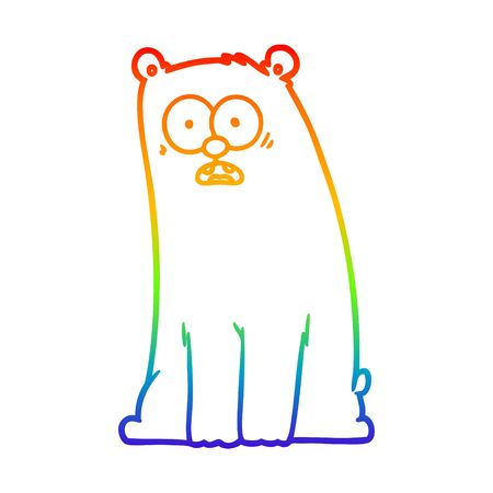 rainbow gradient line drawing of a cartoon surprised bear Illusztráció