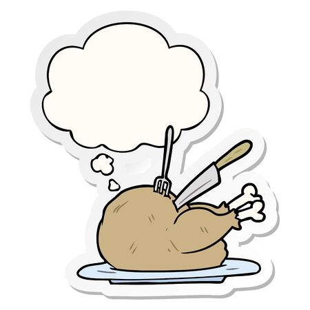 cartoon turkey with thought bubble as a printed sticker 일러스트
