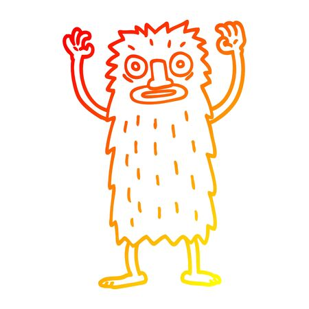 warm gradient line drawing of a cartoon bigfoot creature