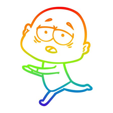 rainbow gradient line drawing of a cartoon tired bald man 일러스트