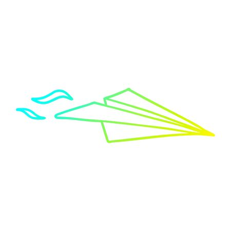 cold gradient line drawing of a cartoon paper airplane