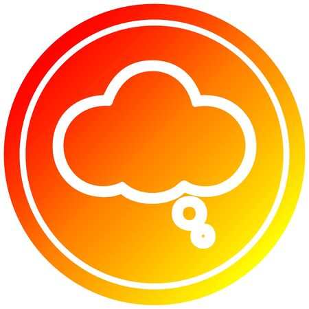 thought bubble circular icon with warm gradient finish