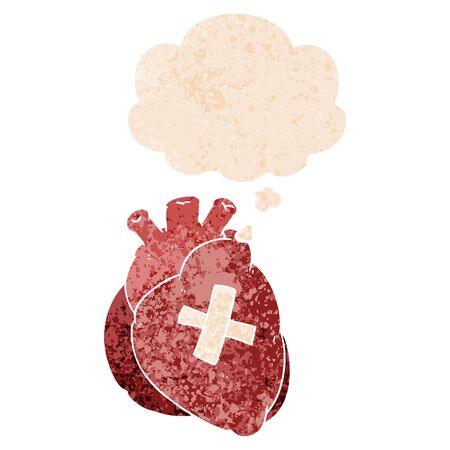 cartoon heart with thought bubble in grunge distressed retro textured style