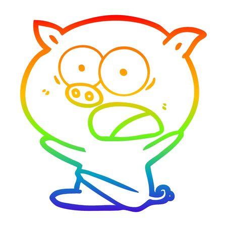 rainbow gradient line drawing of a shocked cartoon pig sitting down