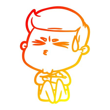 warm gradient line drawing of a cartoon man sweating  イラスト・ベクター素材