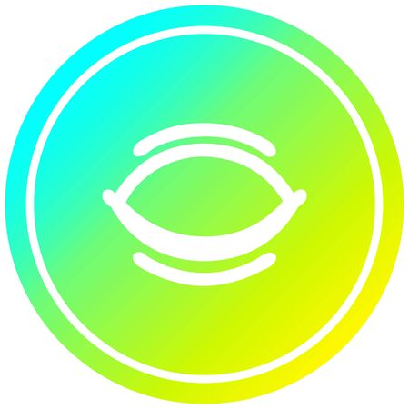 closed eye circular icon with cool gradient finish