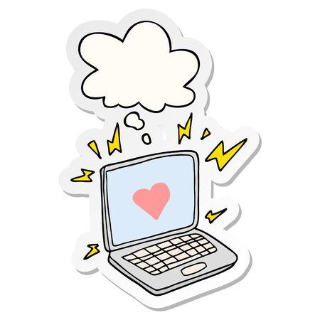 dessin animé de rencontres sur Internet avec bulle de pensée comme autocollant imprimé