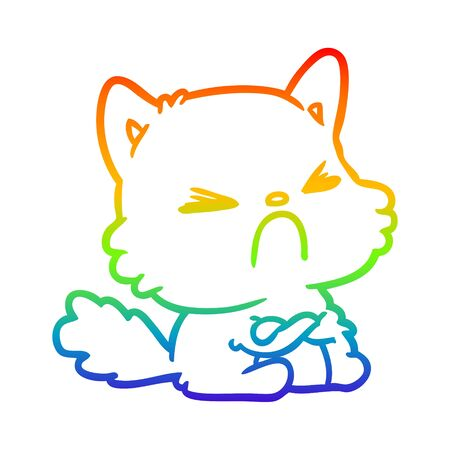 rainbow gradient line drawing of a cute cartoon angry cat