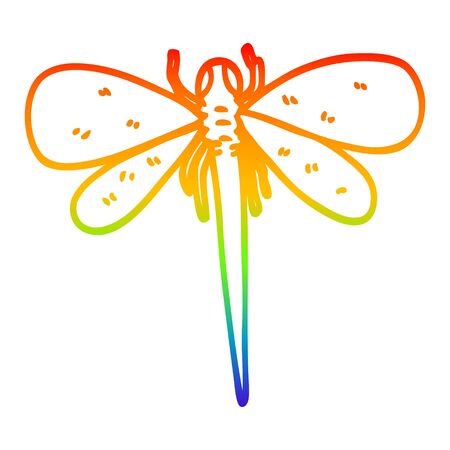 rainbow gradient line drawing of a cartoon dragonfly