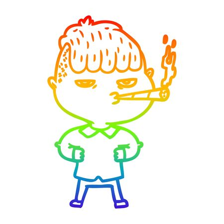 rainbow gradient line drawing of a cartoon man smoking Stockfoto - 129874014