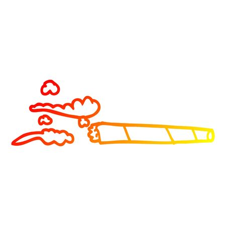 warm gradient line drawing of a cartoon lit joint