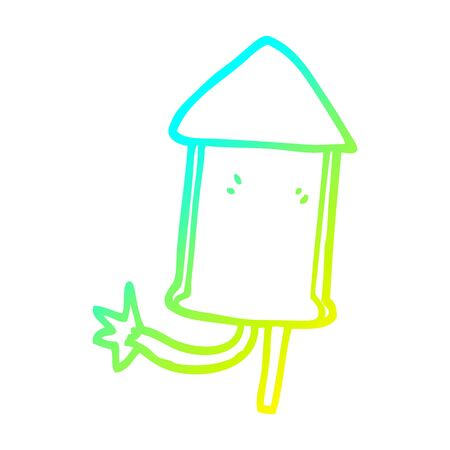 cold gradient line drawing of a cartoon firework  イラスト・ベクター素材