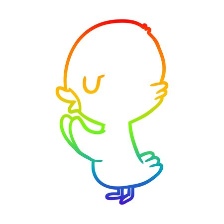 rainbow gradient line drawing of a cute duckling