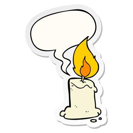 cartoon candle with speech bubble sticker Illusztráció