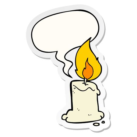 cartoon candle with speech bubble sticker Ilustração