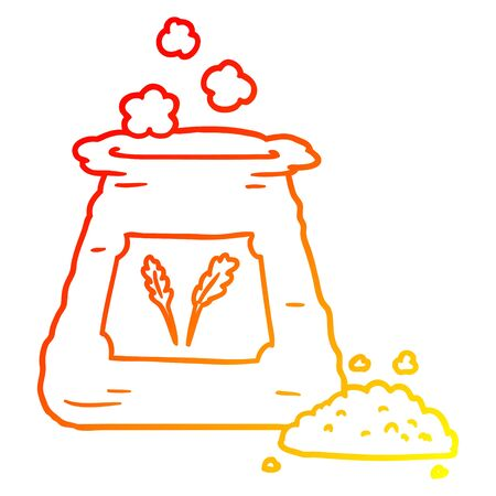 warm gradient line drawing of a cartoon bag of flour Ilustrace