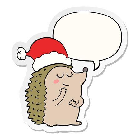 cartoon hedgehog wearing christmas hat with speech bubble sticker Ilustrace