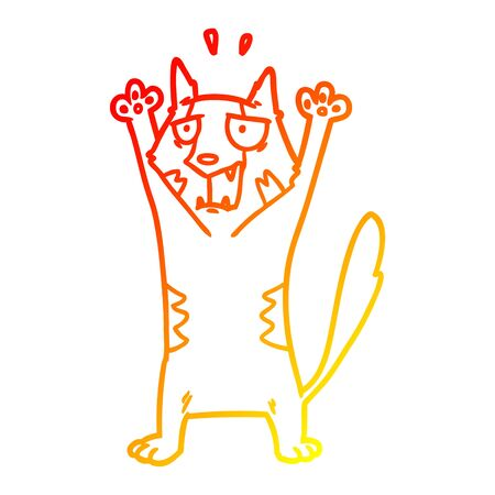 warm gradient line drawing of a cartoon panicking cat