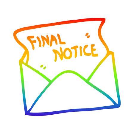 Dibujo de la línea de gradiente de arco iris de una carta de aviso final de dibujos animados Ilustración de vector