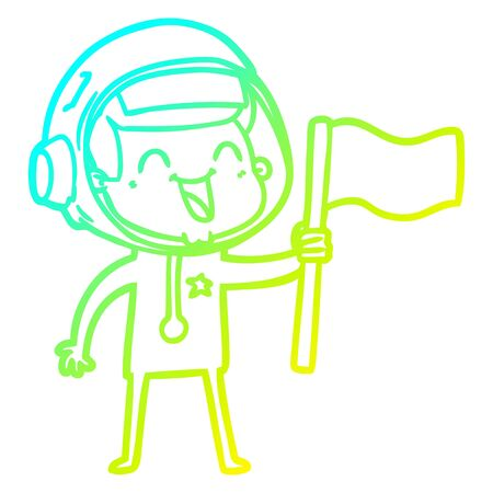 cold gradient line drawing of a happy cartoon astronaut