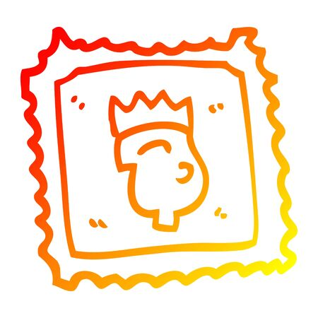 warm gradient line drawing of a cartoon stamp with royal face
