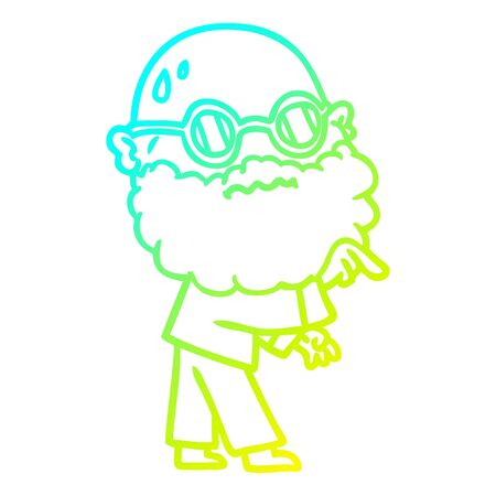 cold gradient line drawing of a cartoon worried man with beard and spectacles pointing finger