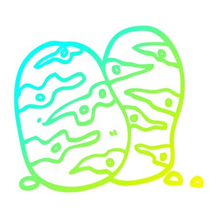 cold gradient line drawing of a cartoon potatoes Illustration