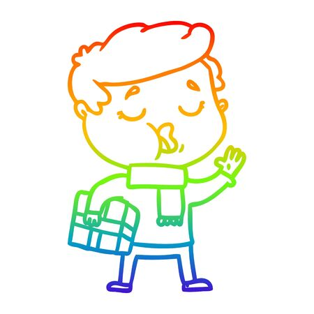 rainbow gradient line drawing of a cartoon man carol singing Illustration