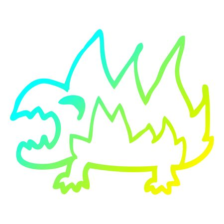 cold gradient line drawing of a cartoon fire demon Illustration