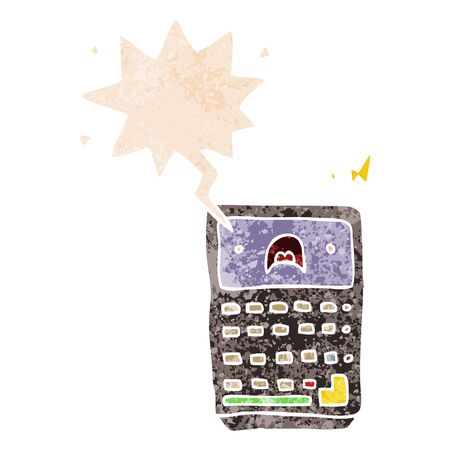 cartoon calculator with speech bubble in grunge distressed retro textured style