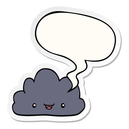 happy cartoon cloud with speech bubble sticker Ilustrace