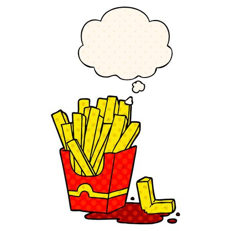 cartoon fries with thought bubble in comic book style  イラスト・ベクター素材