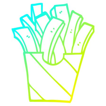 cold gradient line drawing of a cartoon takeout fries