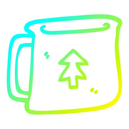 cold gradient line drawing of a cartoon tin can