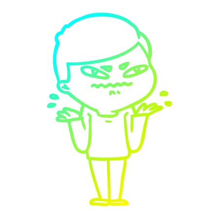 cold gradient line drawing of a cartoon exasperated man