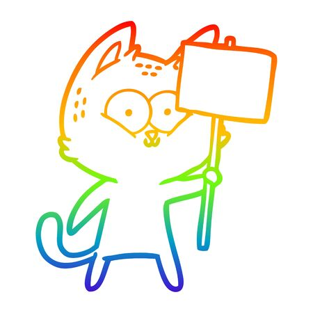 rainbow gradient line drawing of a cartoon cat with placard Illustration