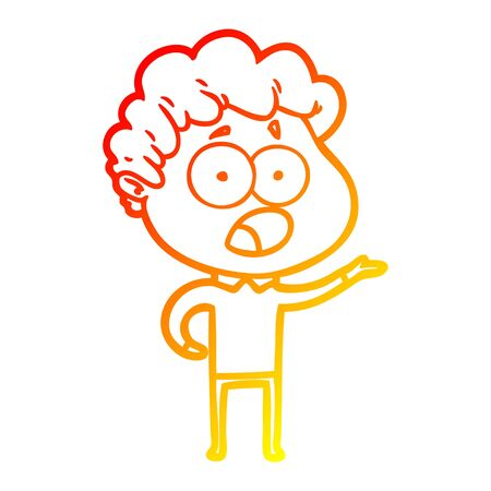warm gradient line drawing of a cartoon man gasping in surprise Ilustração