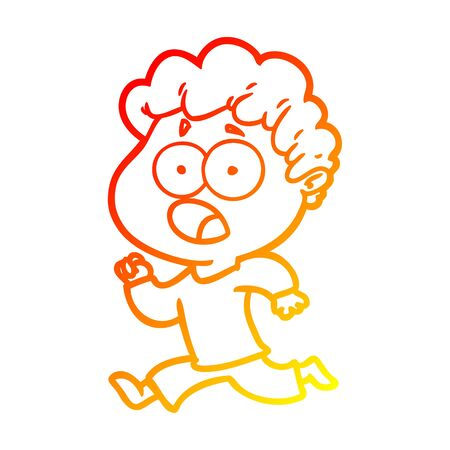 warm gradient line drawing of a cartoon man gasping in surprise 向量圖像