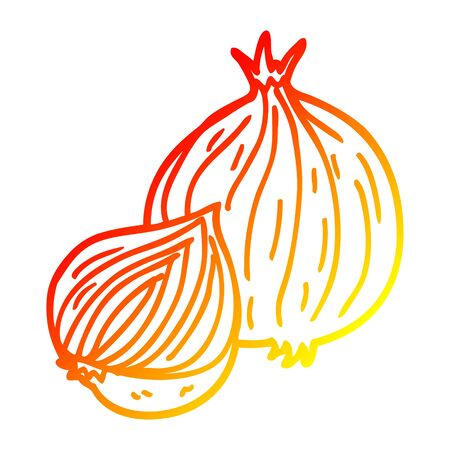 warm gradient line drawing of a cartoon onion
